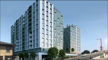 Rendering of McEvoy Apartments, San Jose, California. Courtesy of SERA Architects