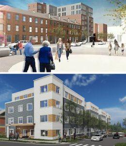 Grace Apartments, East Boston, Massachusetts (top) and Holtzer Park, Boston, Massachusetts. ICON Architecture Rendering (bottom)