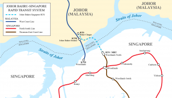 Map of Singapore-Johor Bahru RTS Link. Seloloving, CC BY-SA 4.0, via Wikimedia Commons