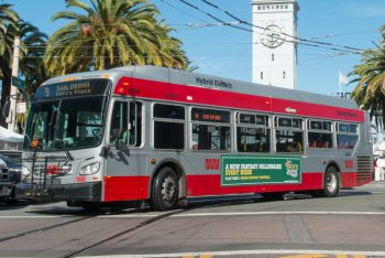 Bus on the 9 San Bruno Route. Courtesy of the San Francisco Municipal Transportation Agency