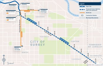 2019 map of the Fraser Highway SkyTrain extension from King George Station to Langley Centre. (TransLink)