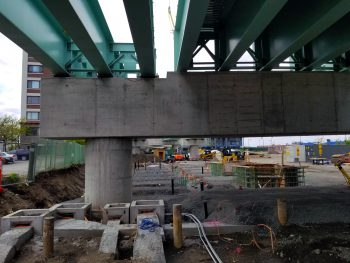 A Lechmere overpass, seen during construction in May, will serve the T station when it's relocated across Monsignor O'Brien Highway from East Cambridge. (Photo: MBTA Green Line Extension via Facebook)