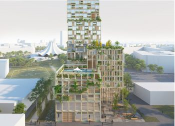 WoHo tower is to be built in Berlin, Germany. Rendering: Mad Arkitekter