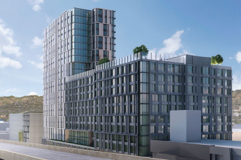 Rendering of Skylyne at Temescal, Oakland, California (to be built across from the MacArthur BART Station. Courtesy of McGrath Properties
