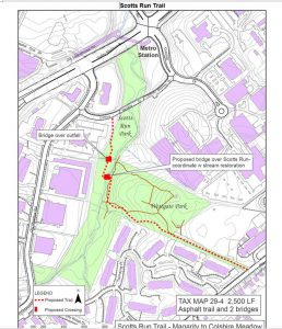 A map of the new Scott's Run Trail. Courtesy of Fairfax County, Virginia