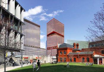 An artist's rendering of PAU's proposed tower, as seen from Drexel's College Walk. (PAU/Brandywine)
