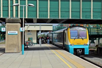 A train stopped at Prestatyn Station in Wales