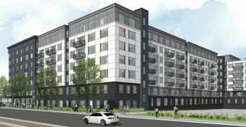 A rendering of a new mid-rise apartment complex to be constructed in San Jose, California
