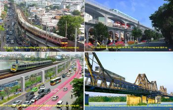 Four images, depicting proposed transportation improvements for Hanoi: a new elevated rail corridor bypassing traffic, an improved bridge, and bus rapid transit lanes below.