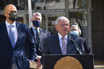 Senator Booker, NJ TRANSIT Chief Executive Kevin Corbett, and Senator Menendez speaking at Newark Penn Station