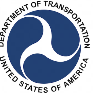 Image is the logo of the United States Department of Transportationn, a blue circle resembling a wheel turning.