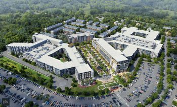 Image is a rendering of a massive mixed use housing comp;lex with rectanguarl apartment buildings, as well as a cluster of townhomes in the back. There is a large crater of parking in front of the development