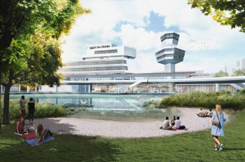 Renderig of people enjoying the shore of a pond, while in the background a white air traffic control tower rises, and a building in the background reads Berlin Tegel.