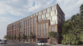 """Rendering of a brown seven-story blocky building, with people walking on the sidewalk in front. The sign on the side reads: """"Windsor Wax Company."""""""