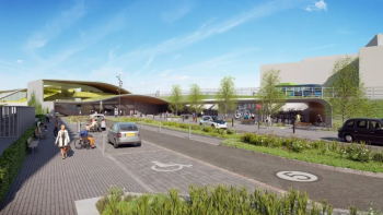 Rendering of a new station, with an accessible parking space in the fouregound, a bike parking station to the right, and an elevated pedestrian greenway connecting to the station