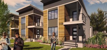 Image of three two-level townhouses in a row, representing InterFaith Neighbor's Parkview AP concept