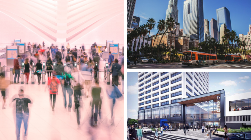 A composite of three images: the PATH oculus entrance, downtown Los Angeles with buses driving past, and a rendering of a remodeled Newark Gateway Center
