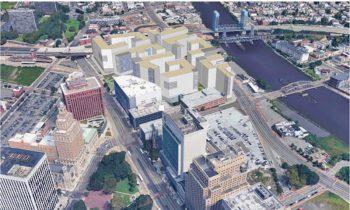 Rendering of infill development along Passaic River in Newark on former stadium site.