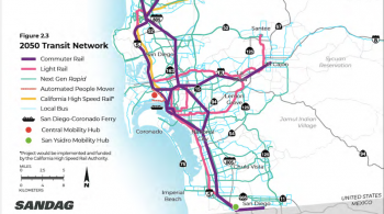 Map of blue, purple, and pink new transit lines, which represent commuter rail, Light Rail, and Bus Rapid Transit service. They form an E shape along San Diego.