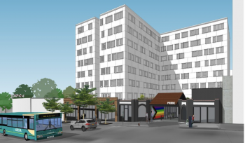 """image of a sketch of a nine-story building, the entrance has an LGBTQ flag and reads """"Pride,"""" in the foreground, a bus drives past."""