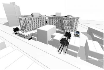 Rendering of a proposed redevelopment in Jersey City, it consists of two eight story apartment buildings, with a stepped style as the rise, meaning that they recede in width with each floor.