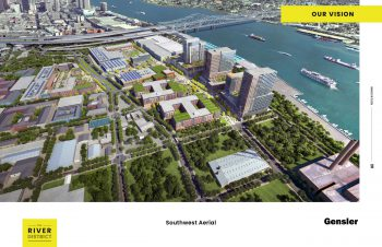 Rendering of a large redevelopment project with several taller buildings placed close to a river (the Mississippi), and more low-rise buildings, with plenty of green space, to the left. In the distance, past a bridge, is downtown New Orleans
