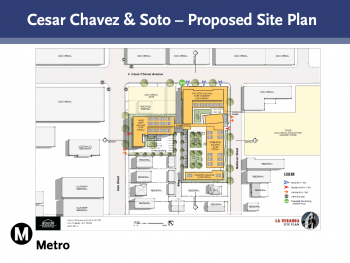 A 2D drawing of the Cesar Chavez & Soto Proposed Site PLan, we can see at hte corner of E Cesar Chavez Avenue and Soto Street, three yellow rectangular site areas, surrounded by trees, though details are hard to read given the low resolution