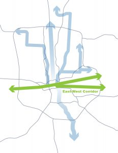 A map of Columbus Ohio with vertical light blue arrows and horizontal green arrows, showing high ridership corridors in the city that they are considering upgrading to BRT