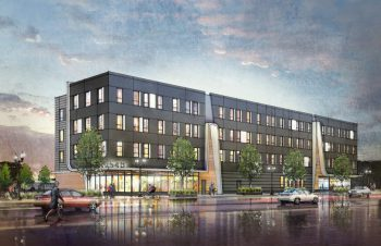 Rendering of a grey four story building with people wakling and biking in front on the ground floor.