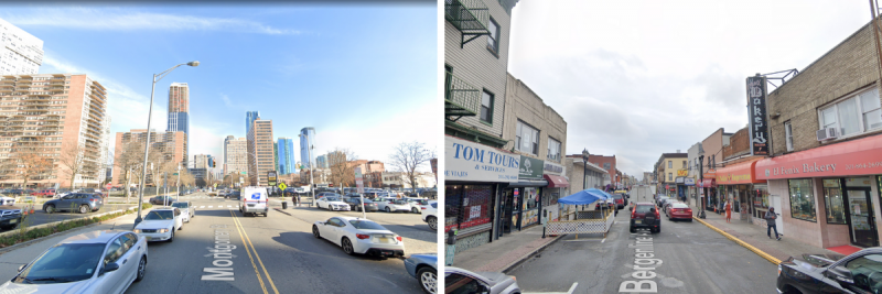 Side by side images. The left is very car and tower-centric, of Jersey City with its towers in the background, to the right is a more dense, clustered, two and three story Bergenline Avenue in Union City with many small shops and housing above them.