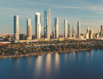 A rendering of nine glass-clad skyscrapers running parallel to the shore of Lake Michigan