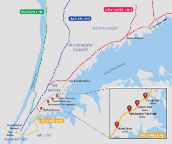 Image of New Metro North line, along Amtrak's Hell Gate Line, in the east bronx, with four new stations, going from north to south: Co-op City Station, Morris Park Station, Parkchester / Van Nest Station, Hunts Point Station