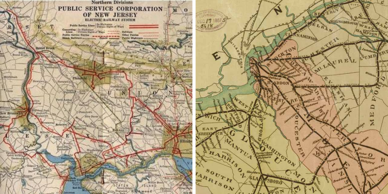 Left is a map of electric railway systems in central jersey, with a few red lines showing trolleys from New Brunswick to Highland Park to Metuchen, where several branches go to Perth Amboy and Elizabeth. Second is an older map of railways on the Jersey side of Philadelphia, radiating out from Camden, Pitman is barely visible in Gloucester county.