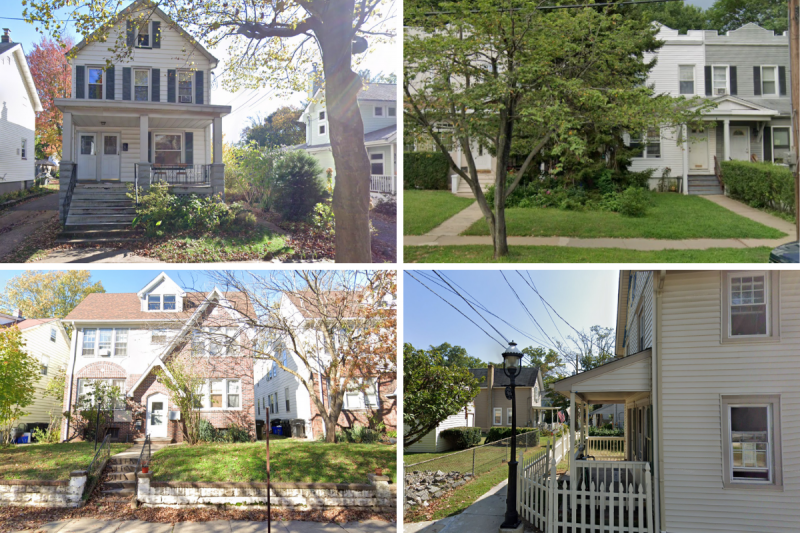 Four images, from top left, clockwise, a duplex that looks like a single-family house, with two doors on its porch, to the right is a series of townhomes set back and two stories, third is a four-plex that is three stories and resembles a single family house, finally a court-style develoment in Pitman, with a pedestrian sidewalk and small two-story homes with porches abutting it.
