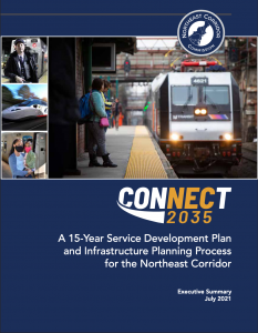 A plan PDF cover, reading Connect 2035, A 15 Year Service Development Plan and Infrastructure Planning Process for the Northeast Corridor, Executive Summary, July 2021