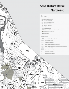 Image of a zoning map, the northeast zoning district in morristown, a small segment abutting the rail corridor is designated as Town Core, with a mix of Mixed-Use, low intensity, and Mixed Use High Intensity around it