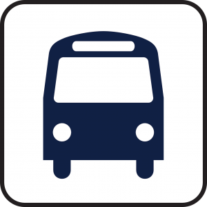 A blue logo of a bus on a white background