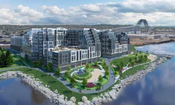 The proposed Bayview development along Newark Bay in Bayonne. Rendering by Minno Wasko