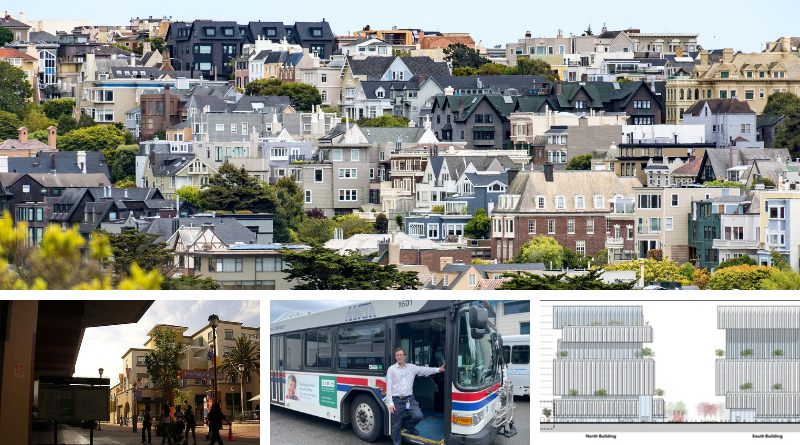 Density in San Francisco (top image); a new TOD at Fruitvale Station (bottom left); enhanced bus service in the Merrimack Valley (bottom center); and new transit-adjacent towers in San Jose (bottom left).