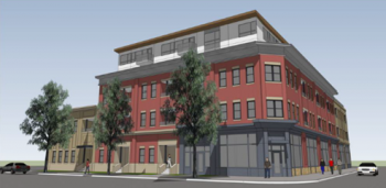 Rendering of a red five story building with a white roof, several trees are planted in front