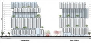 Two four story, jenga-like mid-rise buildings with each floor jutting out differently than the one before