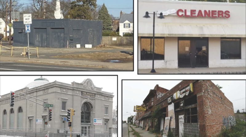 Clockwise from top left, a gray vacant building, a disused cleaners storefront, a derelict old bank, and a defunct main street shopfront