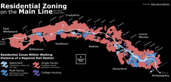 A rendering of residential zoning on the Main Line. The vast majority is zoned for single family, with a few blue pieces zoned for multi-family, apartments, and college housing.