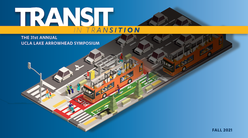 Image of road with cars, bike lanes, bus lanes, and sidewalk, with text that reads transit in transition