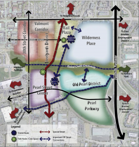 A district map of Boulder Junction, with streets and transit nodes connecting the transit village