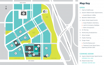 A blue and green map of a planned downtown, a key on the side shows where apartments and retail amenities have been constructed