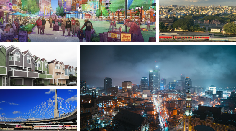 Clockwise from top: a rendering of a TOD community in Prince George's County, a train passes in Bengaluru India, a cloudy evening in downtown Indianapolis, rows of homes in San Francisco, and a commuter rail below a bridge in Boston