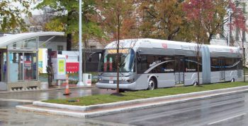 A silver extended bus pulls into a station with a shelter and a person waiting at the platform