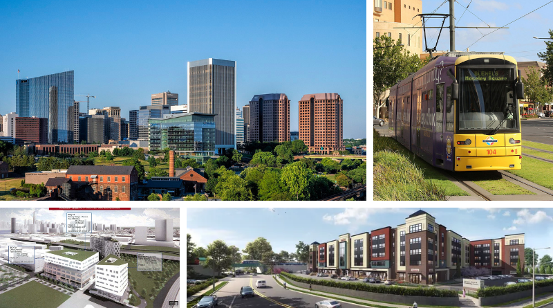 Clockwise: Downtown Richmond, a yellow tram in Adelaide, a new TOD in Hoboken, and a new TOD in Woodbridge