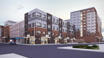 A rendering of several developments on a block in Plainfield, they are blocky, colored charcoal gray and brown